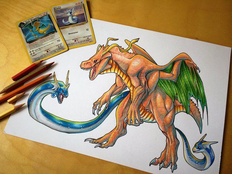 Legendary Dragons Dratini, Dragonair, Dragonite by Dae