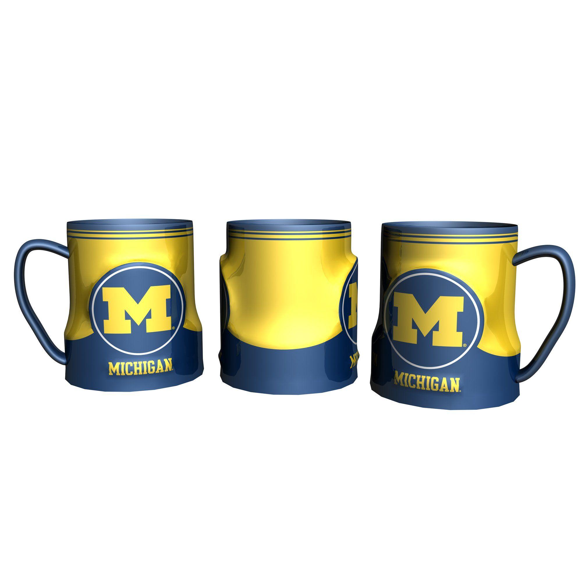 Michigan Wolverines Coffee Mug 18oz Game Time (New
