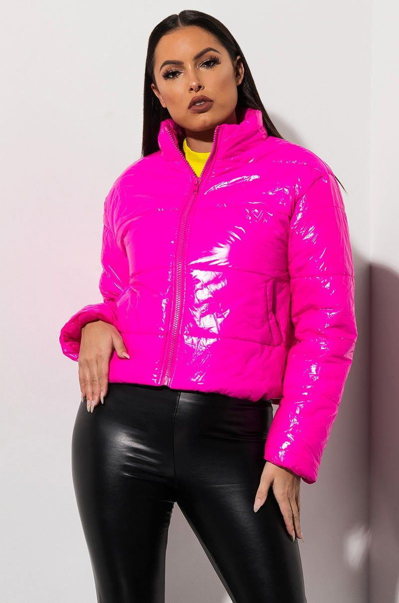 c33b736f76 AKIRA Label Puffy Long Sleeve Zip Up Jacket in Hot Pink