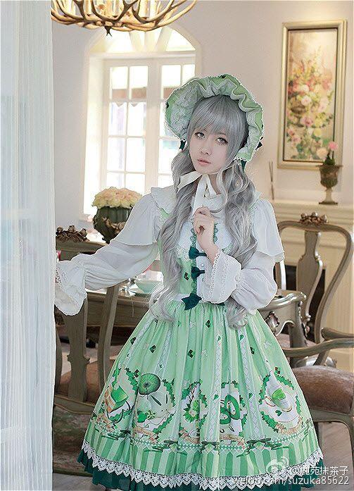 [--★-Milu Forest ~Matcha Dessert~ Series Model Show-★--], [--❣-the pre-order will END TOMORROW, don't miss it-❣--] >>> http://www.my-lolita-dress.com/milu-forest-matcha-dessert-lolita-jsk-blouse-and-match-accessories-mif-14