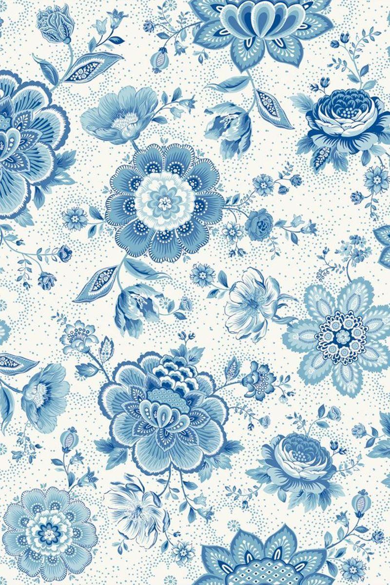 Folklore Chintz Wallpaper Light Blue Blue Floral Wallpaper Blue