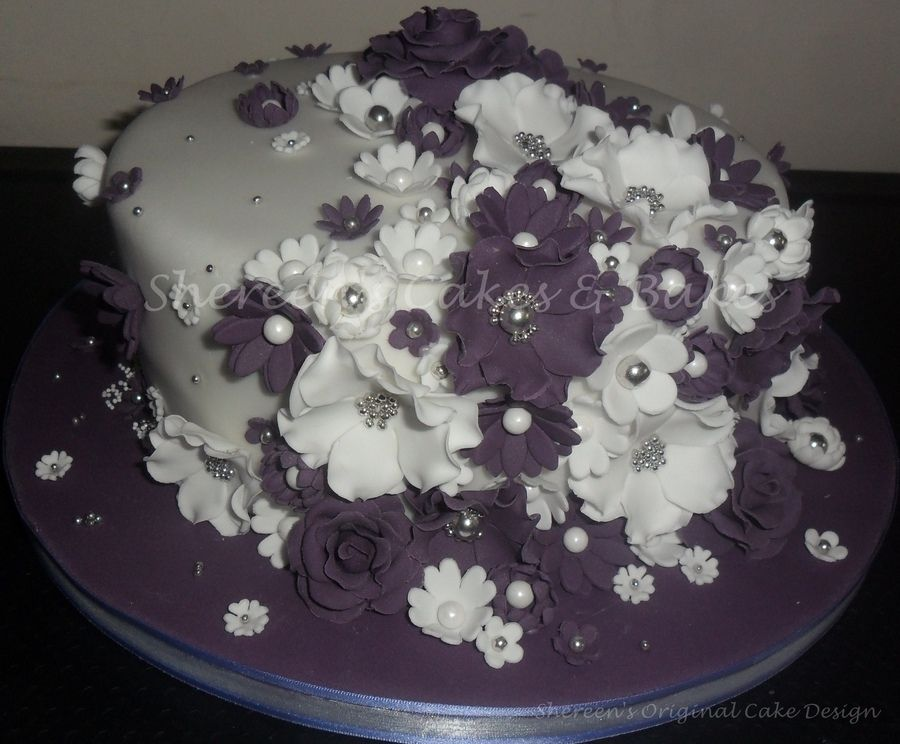 Purple White Silver Theme Flowers Wedding Cake Which I Also Made