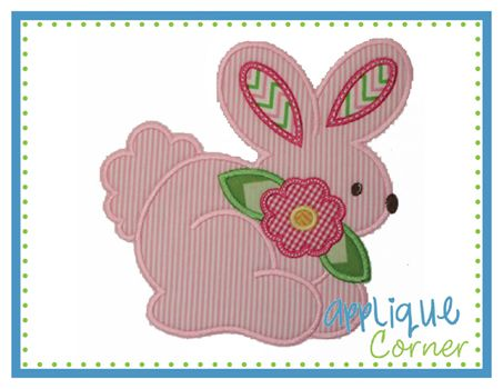 Applique Corner Bunny with Flower Applique Design