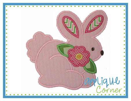 Applique Corner Bunny with Flower Applique Design