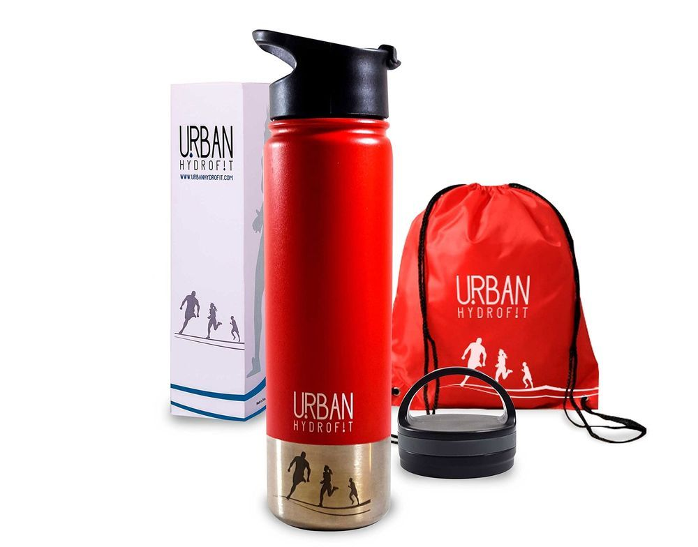 Sports Water Bottle With 2 Lids & Sack Insulated Travel