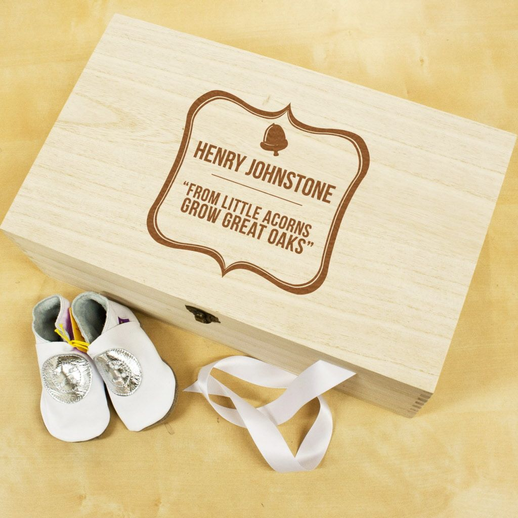 Christening gift or new baby gift baby little acorn wooden buy personalised baby acorn sentiment keepsake box at treat republic personalised gifts hand finished in our london workshop negle Choice Image