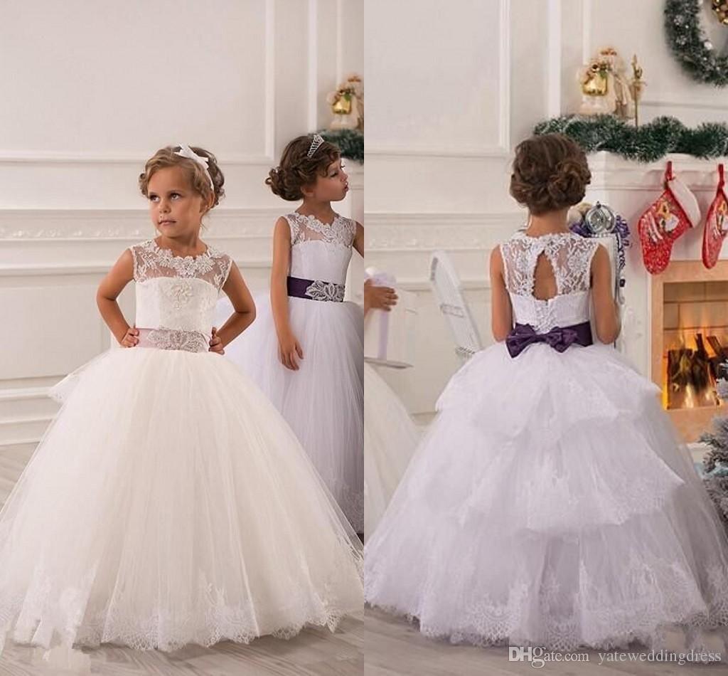 d6d7cae800 2015 Summer Flower Girl Dresses For Weddings Ball Gown Princess Floor  Length White Lace Tulle Appliques Flower Girl Dress Pageant Gowns Bill  Levkoff Flower ...