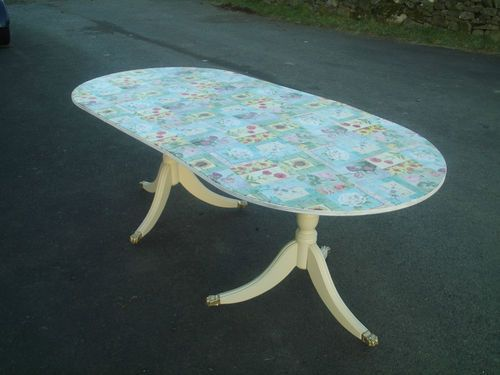 Vintage dining table with floral patchwork decoupage table