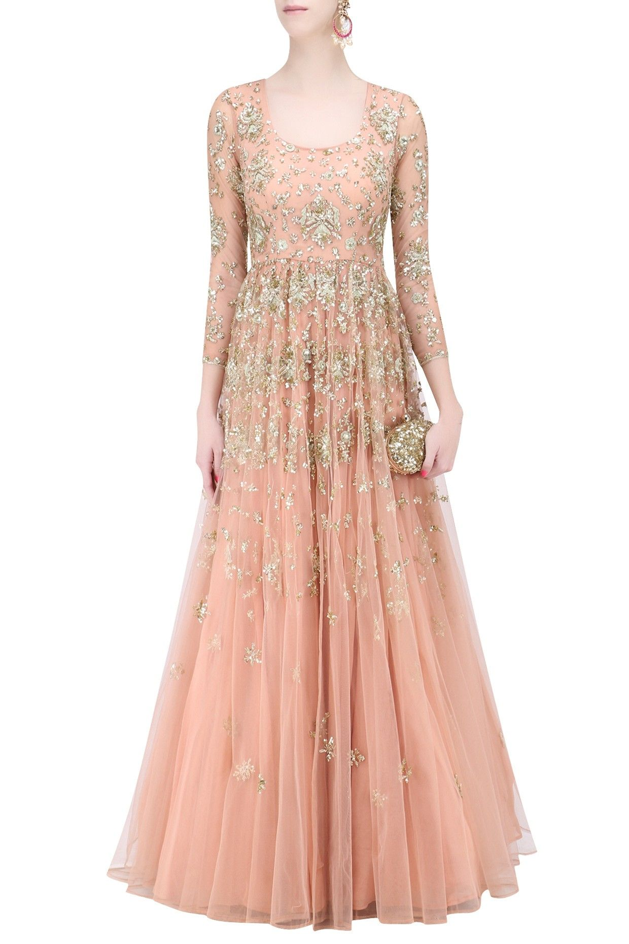 f61040b74d Description Featuring a peach flared anarkali gown in net with gold sequins  floral work all over. It has a can can underlayer.