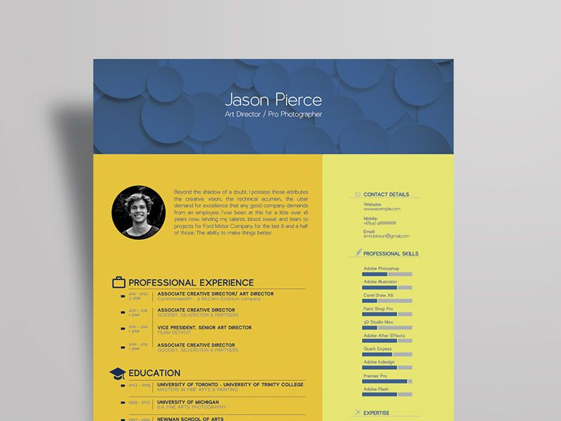 Free art director resume template with stylish design in