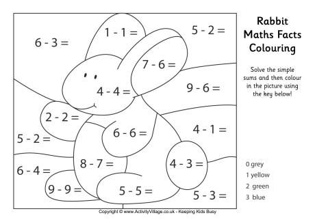 Rabbit maths facts colouring page | DL | Pinterest | Math facts ...