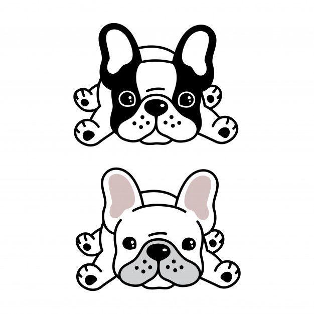 Perro Bulldog Frances Mascota De Dibujos Animados Vector Premium