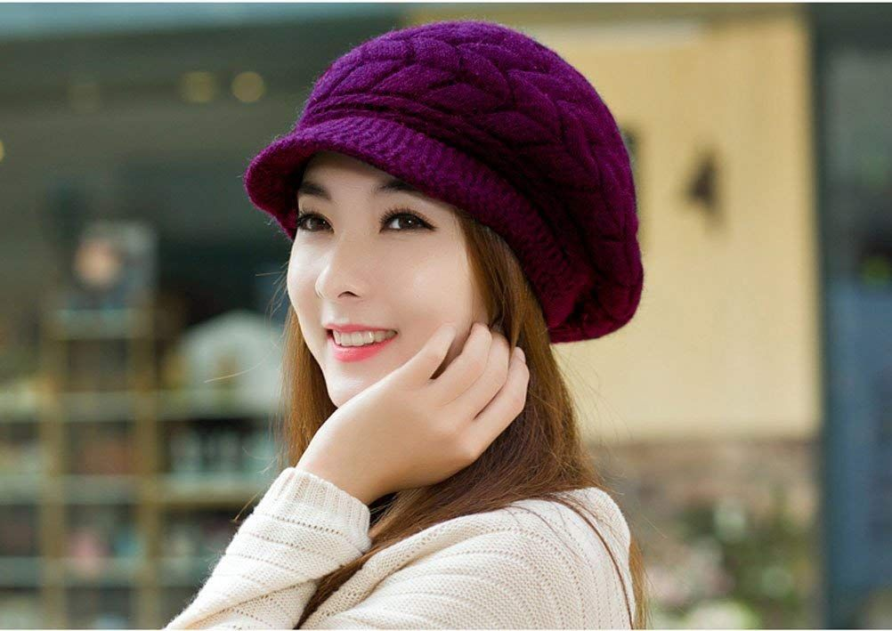 155bf22fa9a  10.99 HindaWi Women Winter Warm Knit Hat Wool Snow Caps With Visor ...