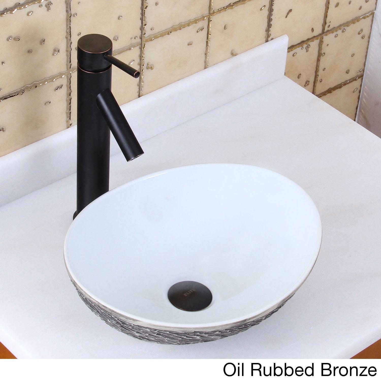 Elite 1574+2659 Oval Grey / White Porcelain Ceramic Bathroom Vessel ...