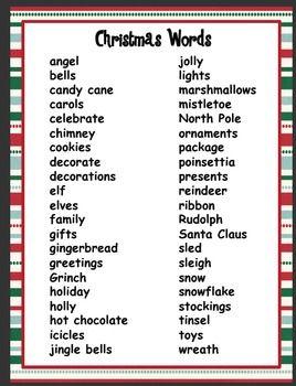 Christmas Pictionary Words | unit $ 4 00 christmas word list free ...