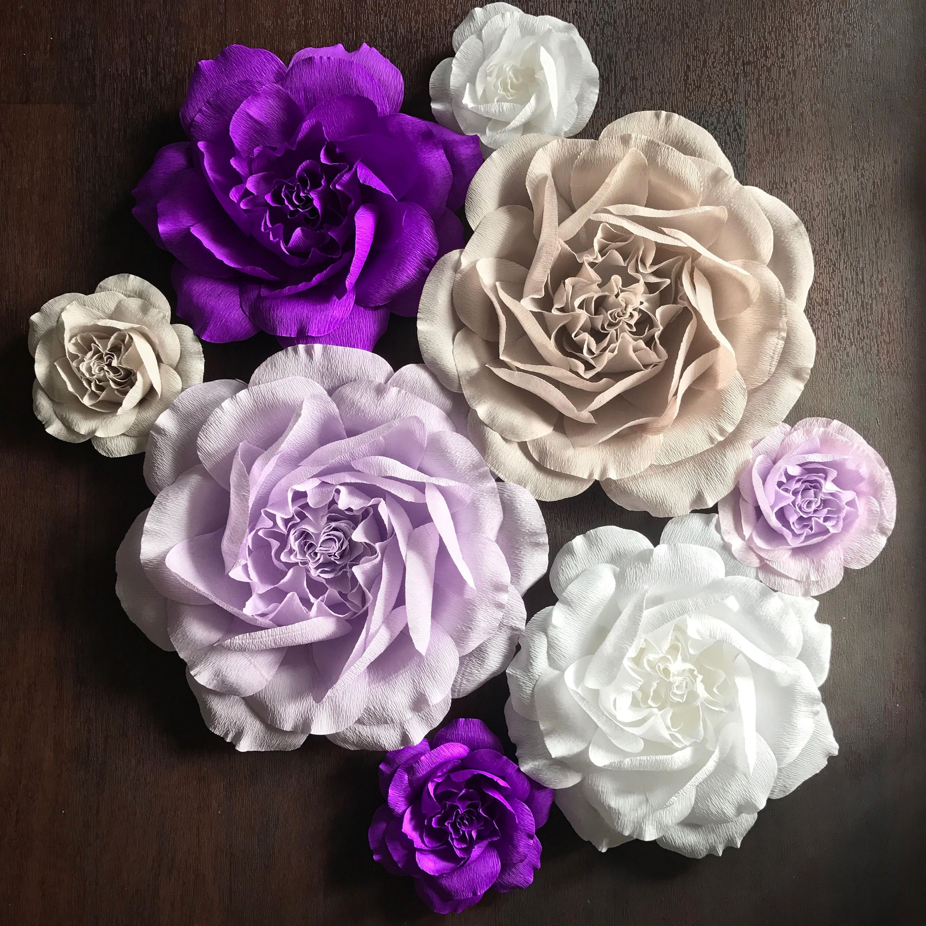 Large Paper Flowers - Paper Flower Wall - Crepe Paper Rose Wall Flower Set - Paper Rose Backdrop - 3D Paper Flowers-Purple Paper Flowers #paperflowerswedding