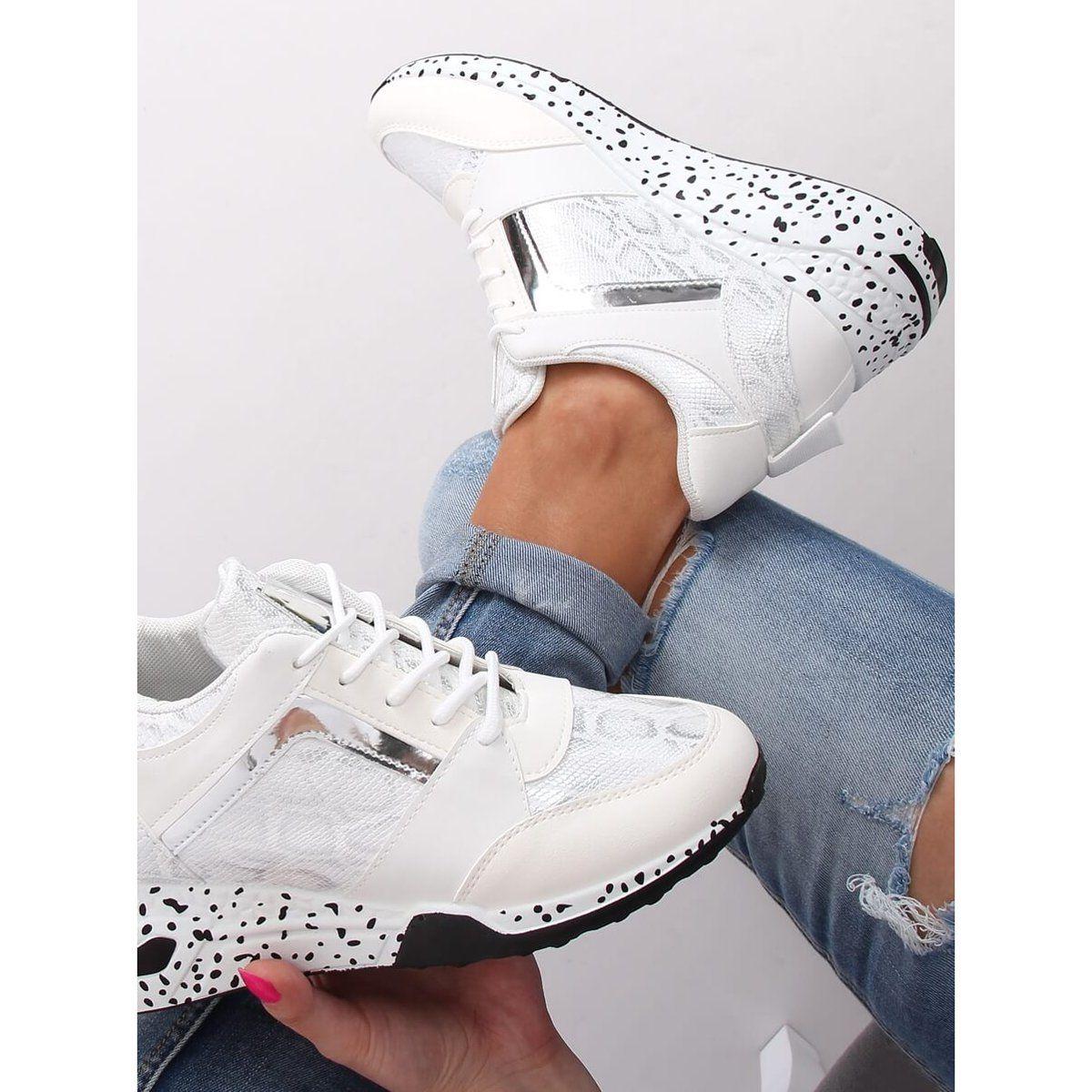 Buty Sportowe Na Koturnie Biale C131 Blanco White Sneaker Shoes Sneakers