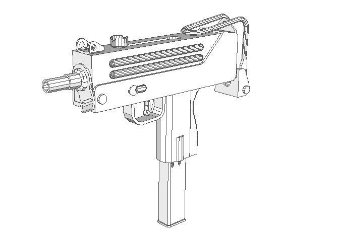 Full Size MAC-10 Machine Pistol Paper Model Free Template
