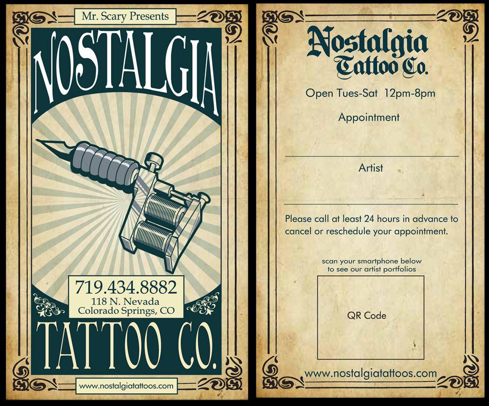 business card for nostalgia tattoo company business card