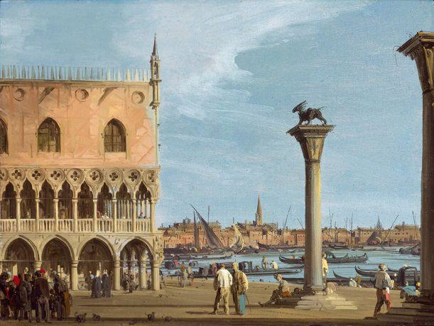 Venise: La Punta della Dogana, huile sur toile, 27,6 x 37,3 cm, Collection particulière, vers 1730-1735.