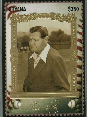 BABE RUTH 1994 PREMIER EDITION#5  $350 GUYANA STAMP GOLD  FOIL NEW YORK YANKEES