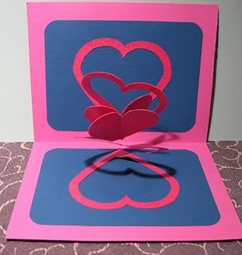 Idea for Valentines Day Double Heart Popup Card – How to Make Pop Up Valentine Cards
