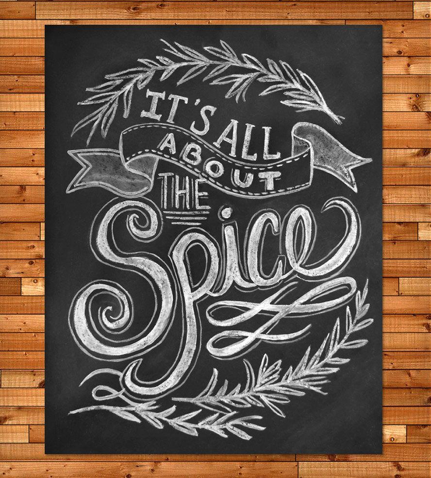 It's All About The Spice Chalkboard Art Print   Art Prints ...