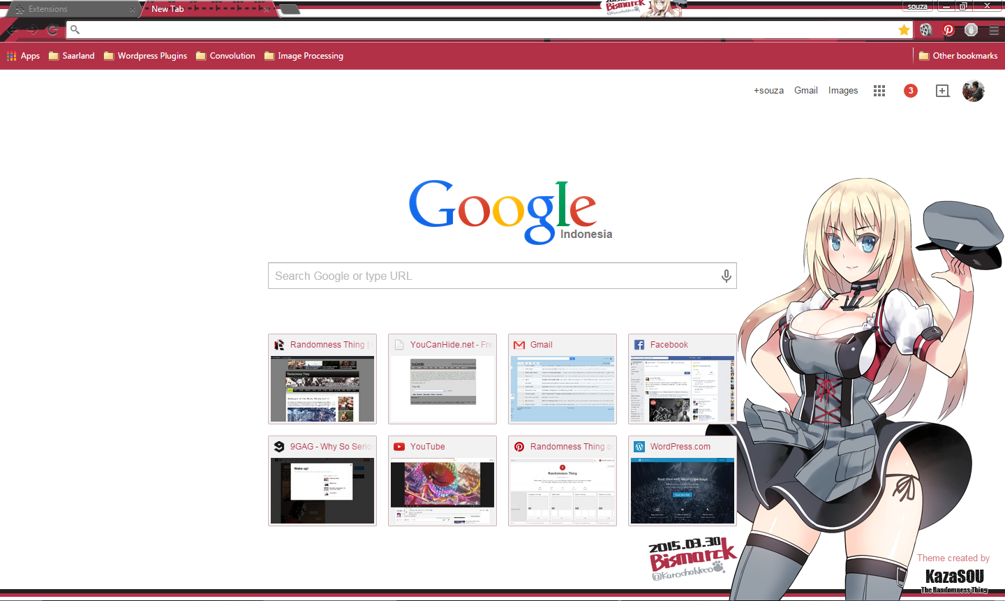 Google themes today - Bismarck From Kantai Collection Kancolle Strikes Again With Another Google Chrome Theme For Today