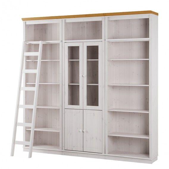 Bücherwand Lillehammer II - Kiefer massiv - Kiefer Weiß \/ Kiefer - wohnzimmer kiefer weis