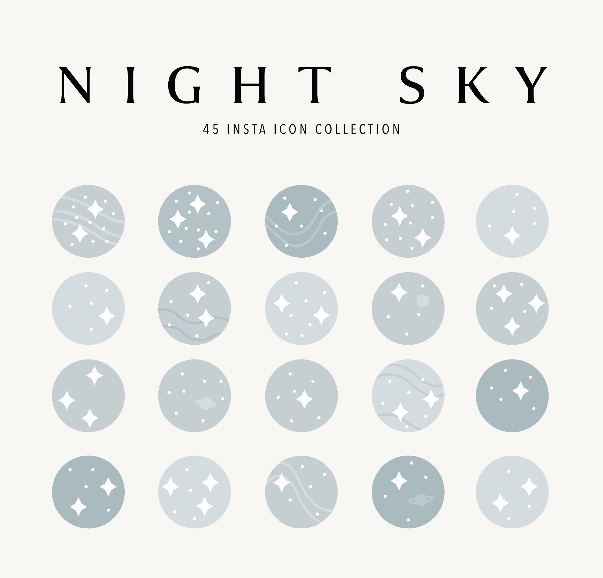Night Sky 45 Instagram Highlight Icon Collection Etsy Instagram Highlight Icons Night Skies Icon Collection