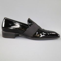 a7642a07c83 TOM FORD Size 9 Black Patent Leather Ribbon Band Tuxedo Loafers ...