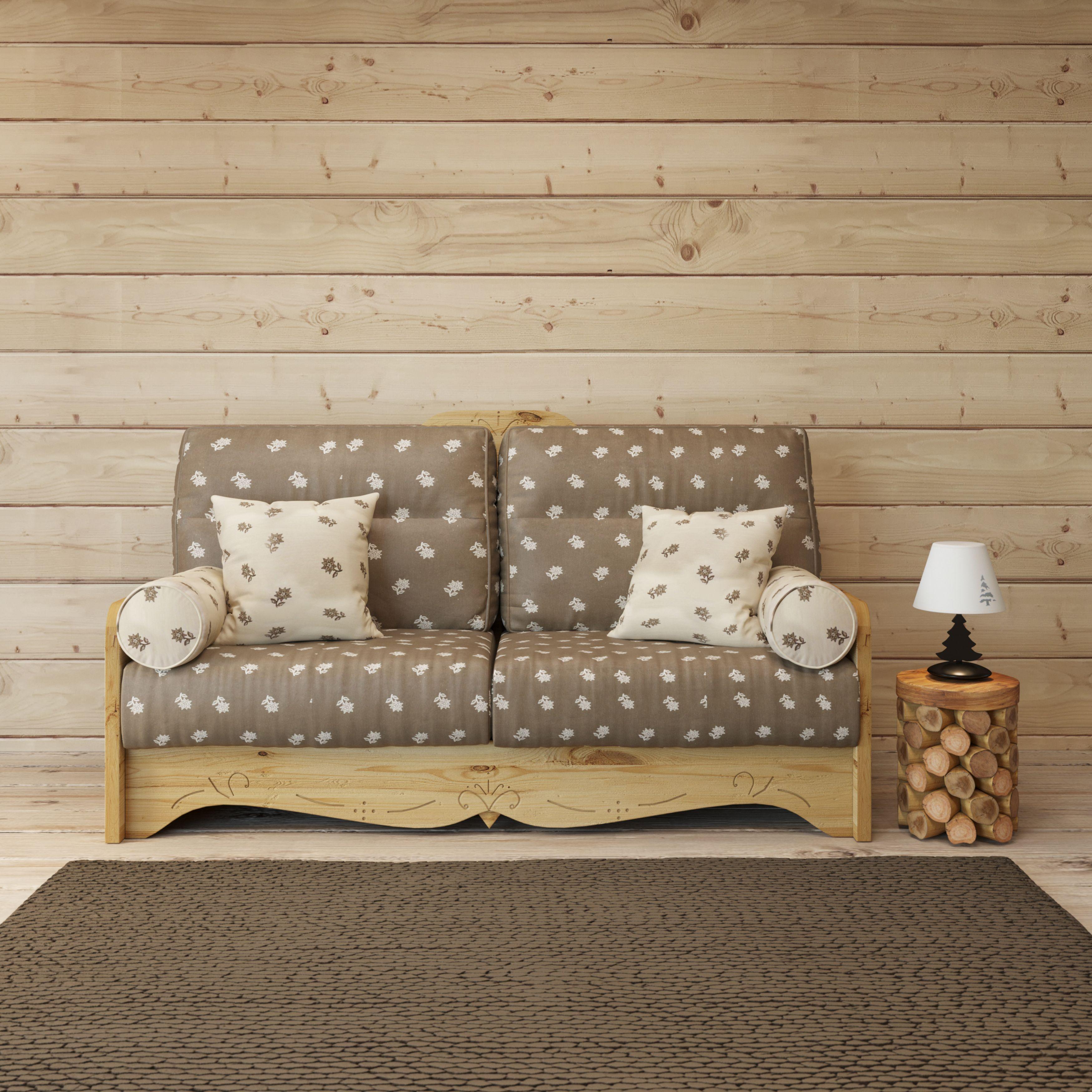 Ce Canape Convertible En Bois Massif Et Tissu Montagnard Est Ideal Pour Un Studio En Station Canape Convertible Meuble Deco Canape