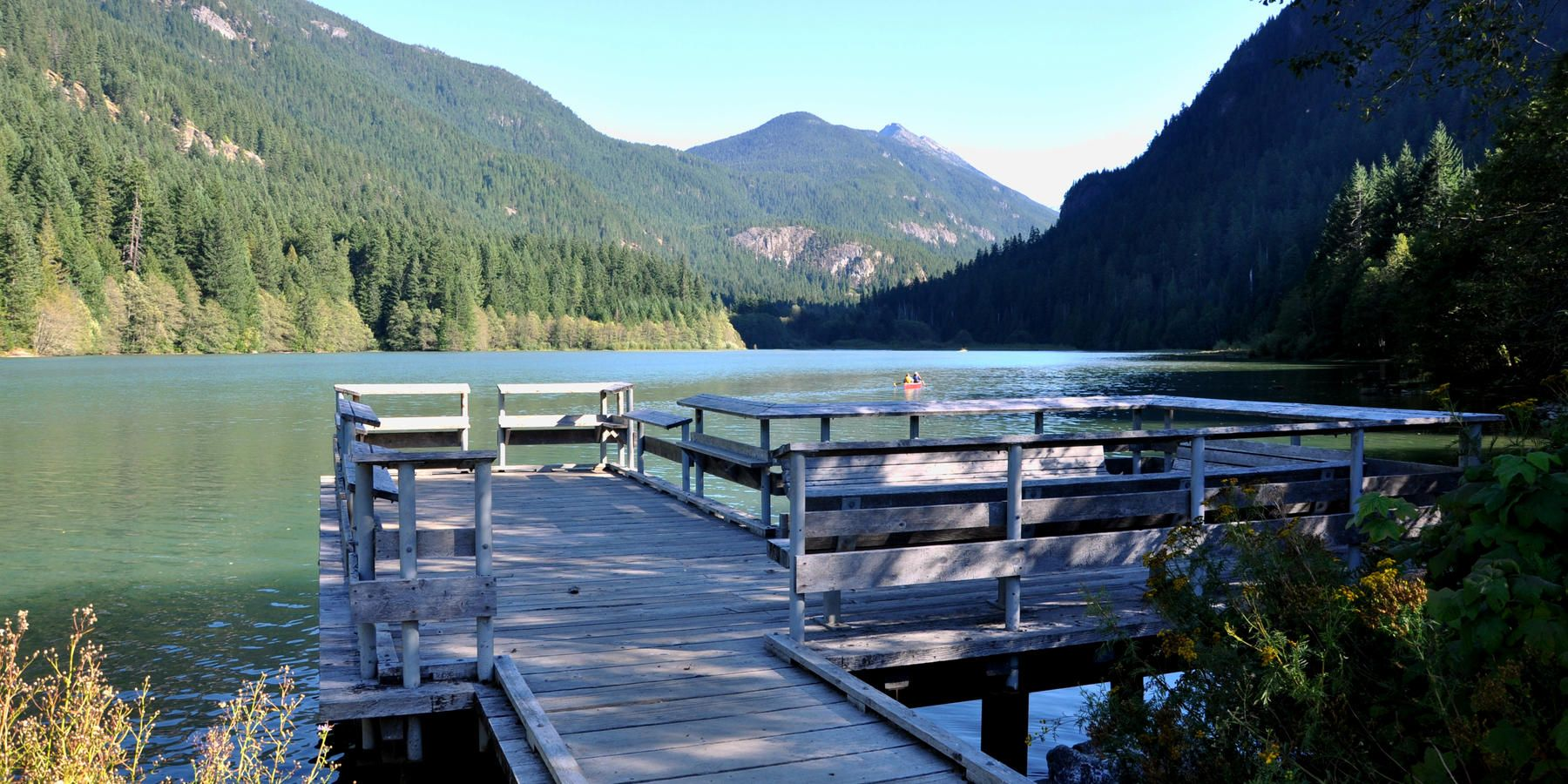 Fishing pier on Diablo Lake - Colonial Creek Campground