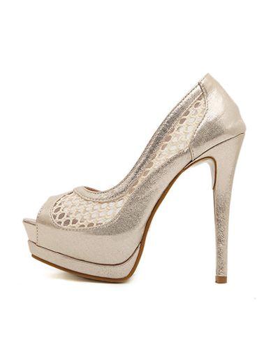 Socialite Mesh Detail Peep Toe Platform Stiletto Heels