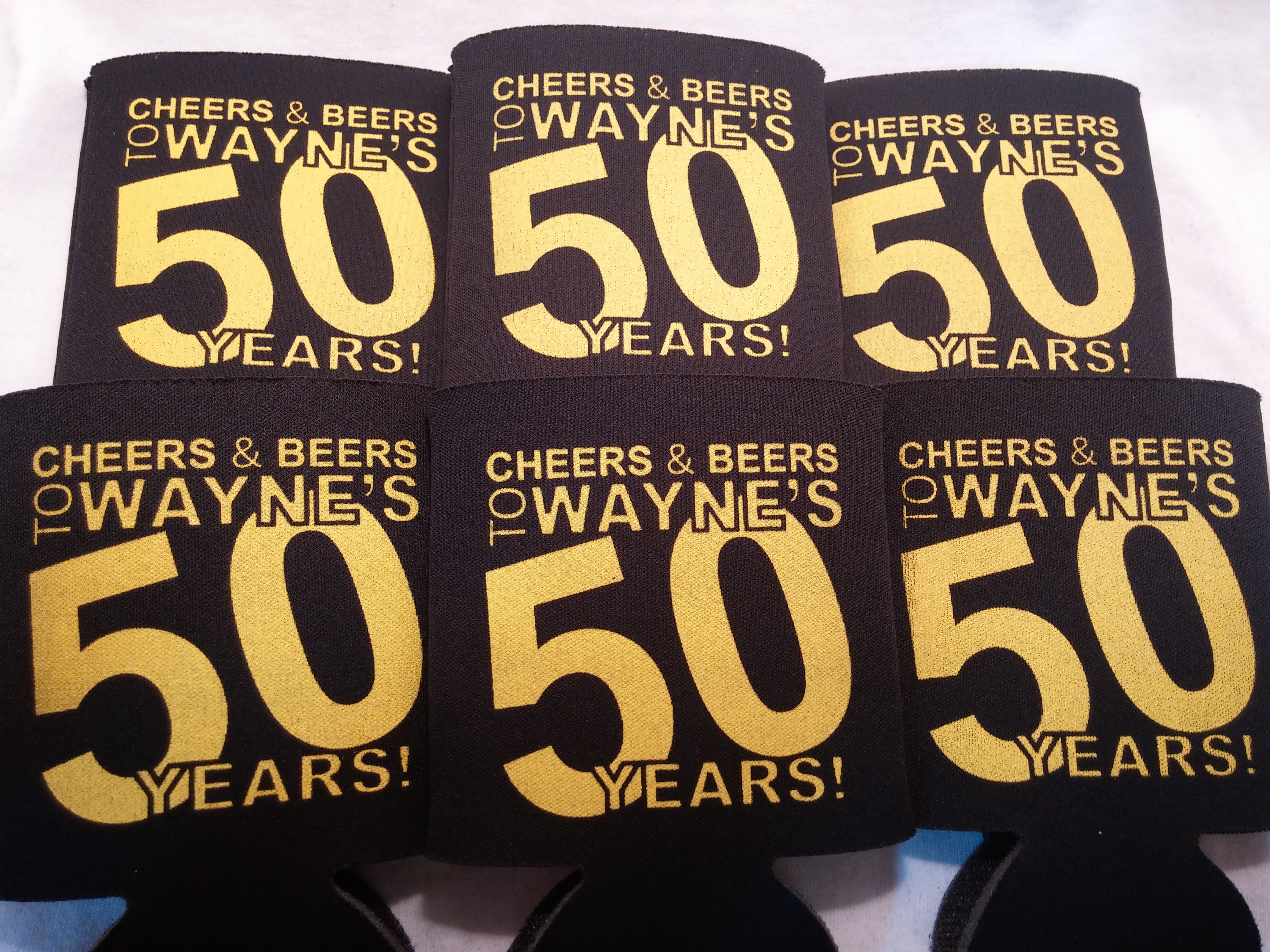 Cheers and Beers 50th Birthday Koozies favors can coolers ...