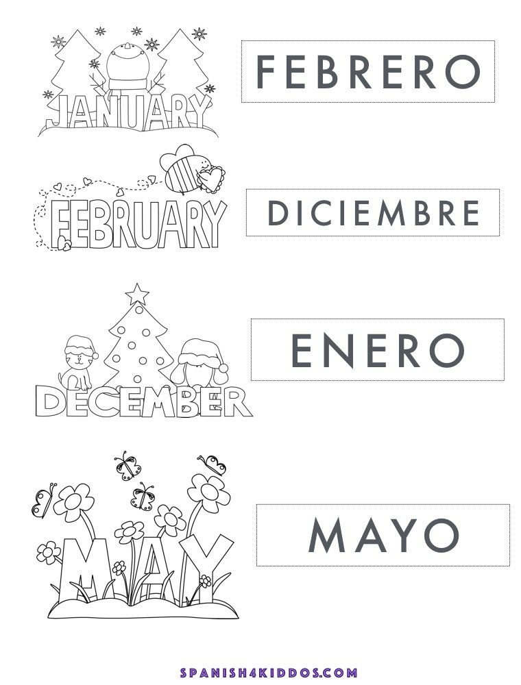 Free Printable Of Spanish Months January February December May Matching Activity In Black A Worksheets For Kids Spanish Worksheets Fun Worksheets For Kids