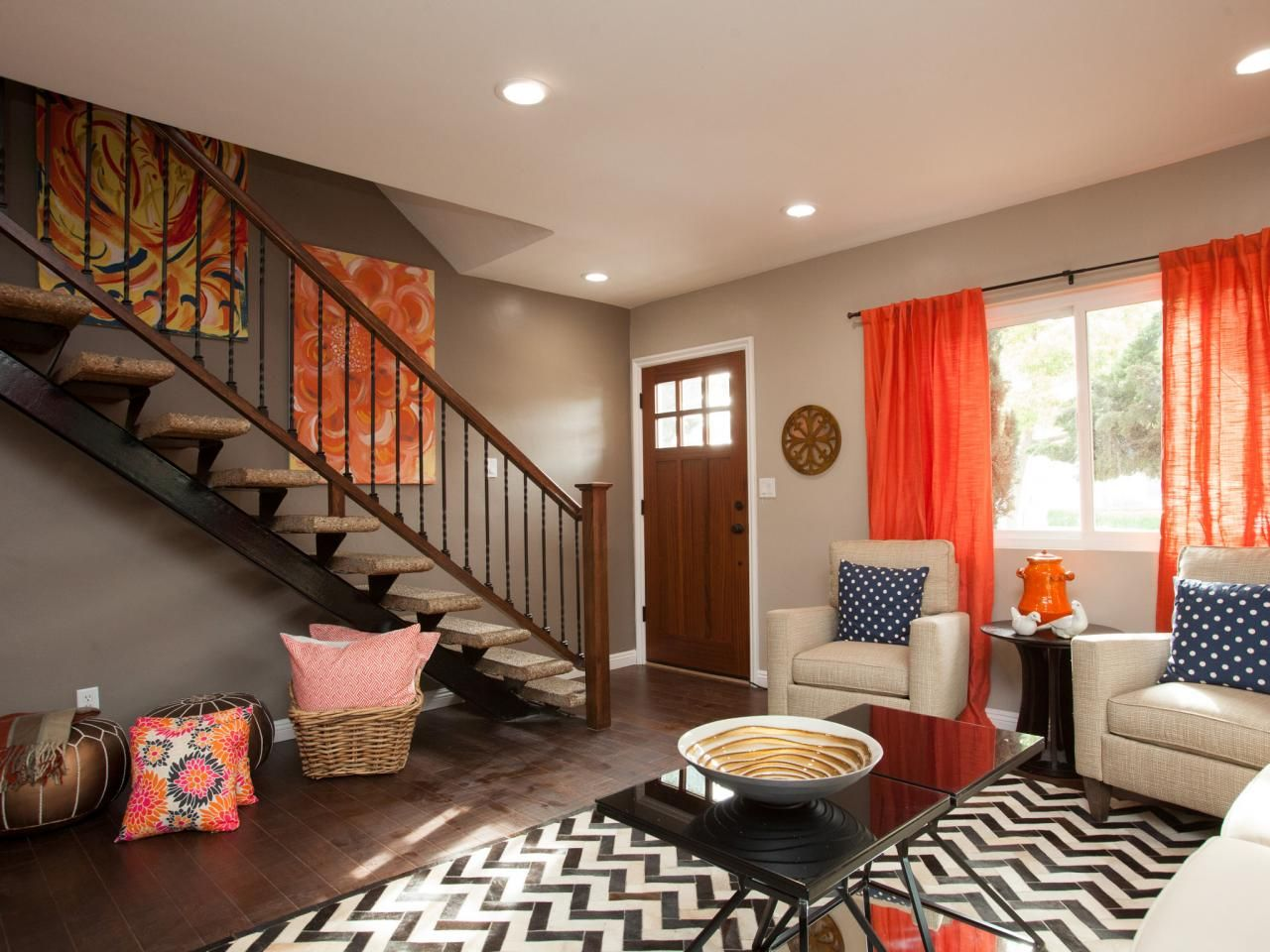 Living room color scheme interior design ideas likewise interior home - Orange Is Not For Me But I Love Their Use Of Patterns And Pops Of Color Her Artwork Is Beautiful Shauna And Anicka Stairwell And Banister