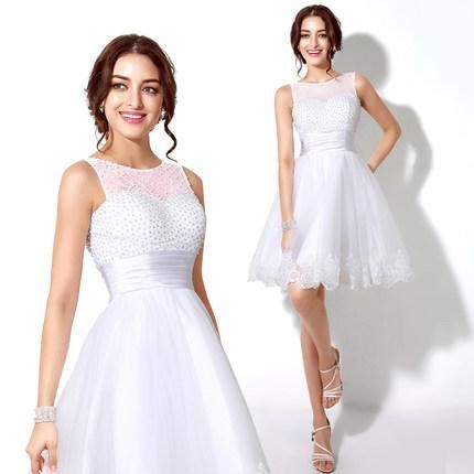 fe32ea88b68 Short White Homecoming Dress Beaded Knee Length Teen Prom Dress 8th Grade  Graduation Dress Sexy Dresses For Juniors Shop Dress From Lynbridal