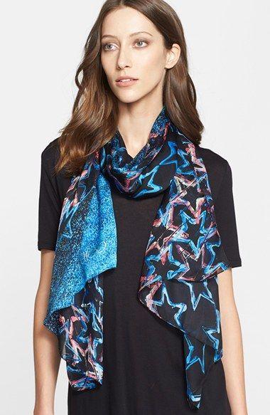 Women's Jimmy Choo Star Print Silk Scarf - Blue