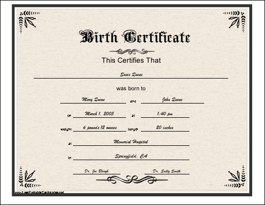 a basic printable birth certificate with an elaborate, historic font