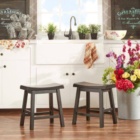 Ashby Kitchen Stools 18'' Set Of 2 Black Rubbed  Walmart And Impressive Walmart Kitchen Stools Design Decoration