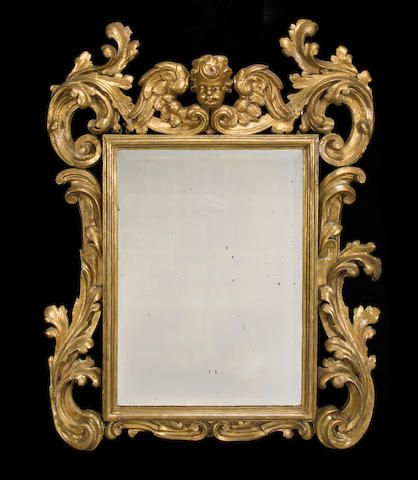 Un espejo de madera dorada del barroco italiano del siglo - Marcos espejos antiguos ...