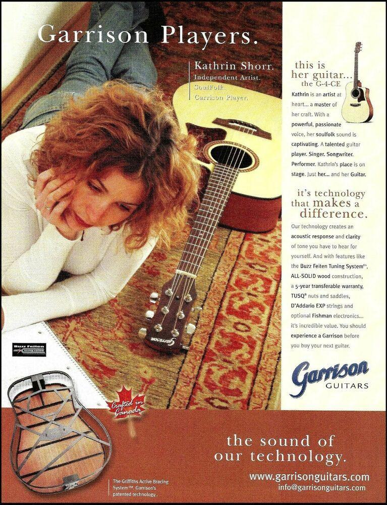 Kathrin Shorr Garrison G 4 Ce Acoustic Guitar 2004 Advertisement 8 X 11 Ad Print Garrison Guitar Magazine Songwriting Hohner