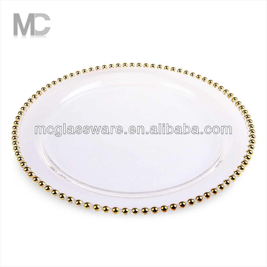 Cheap Wholesale Wedding Gold Silver Glass Beaded Charger Plates ...