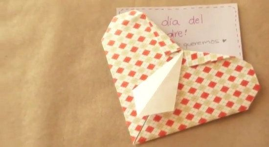Corazón camisa de origami para el día del padre