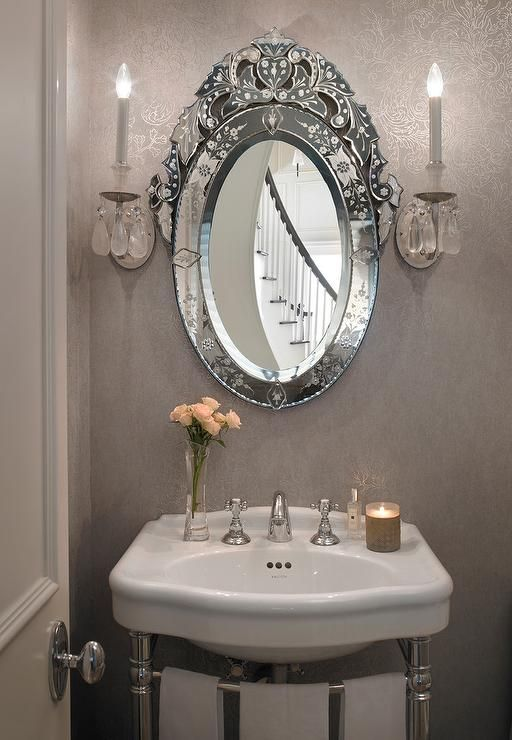 Gray French Powder Room Boasts Damask Wallpaper On A Wall Lined With Curved 2 Leg Washstand And An Oval Venetian Mirror Illuminated By Gl