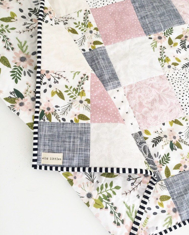 Lavender Puzzlecloth Modern Wholecloth Baby Quilt-Baby Girl Quilt ...
