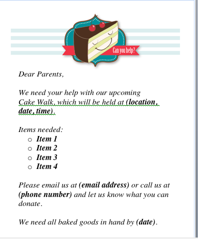 Cake Walk Donation Request Letter To Parents From The Pto border=
