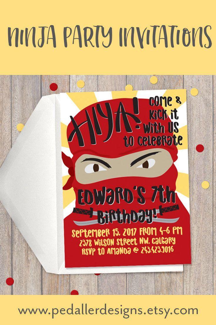 Ninja Party Invites, Boys Birthday Invitation, Ninja Warrior ...
