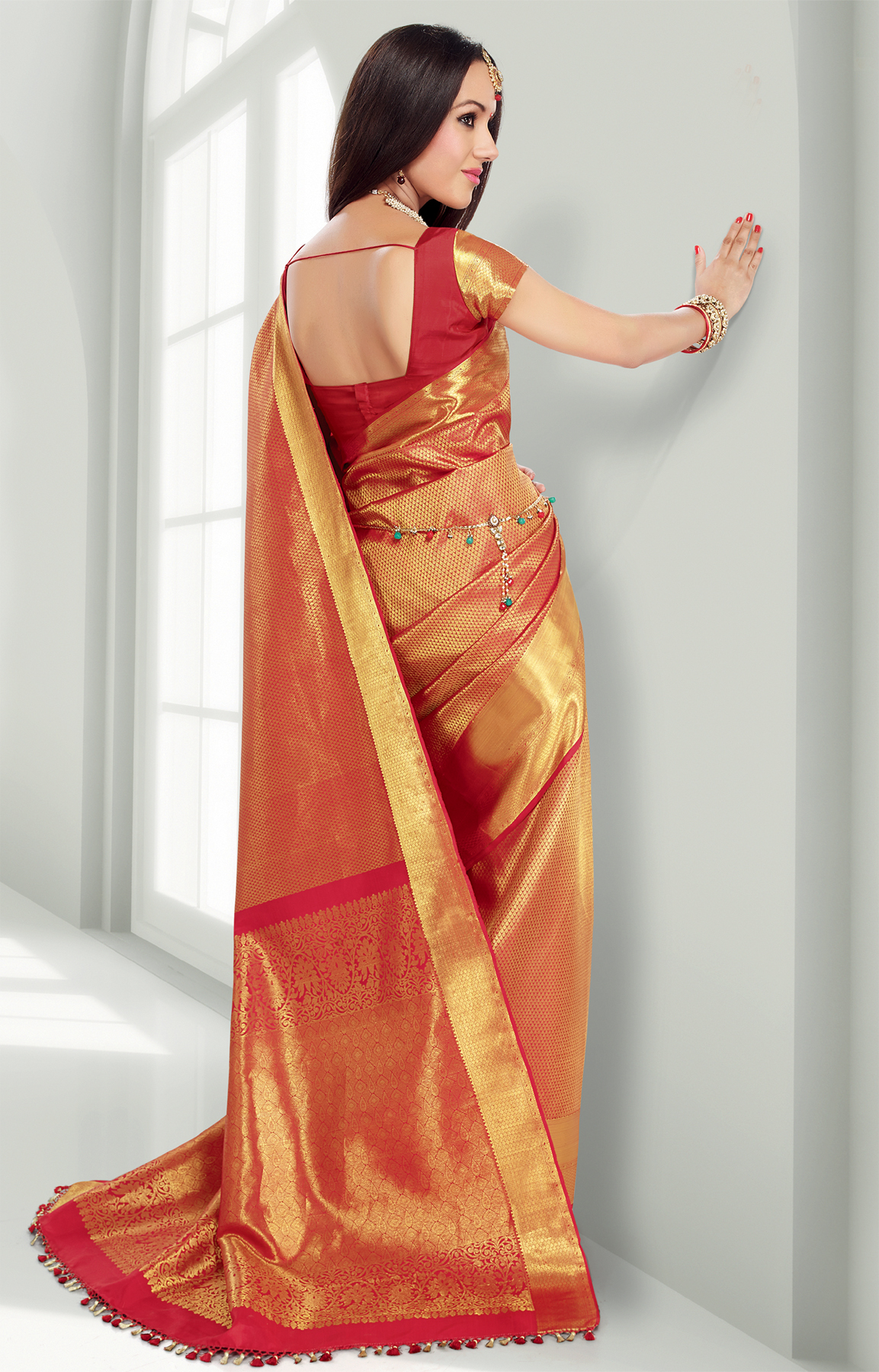 d3335ef737 Red pure silk saree with gold motifs throughout the saree and a wide  one-side gold border - RmKV Silks